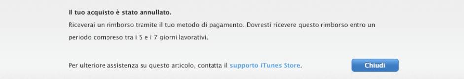 App Apple Diritto di recesso