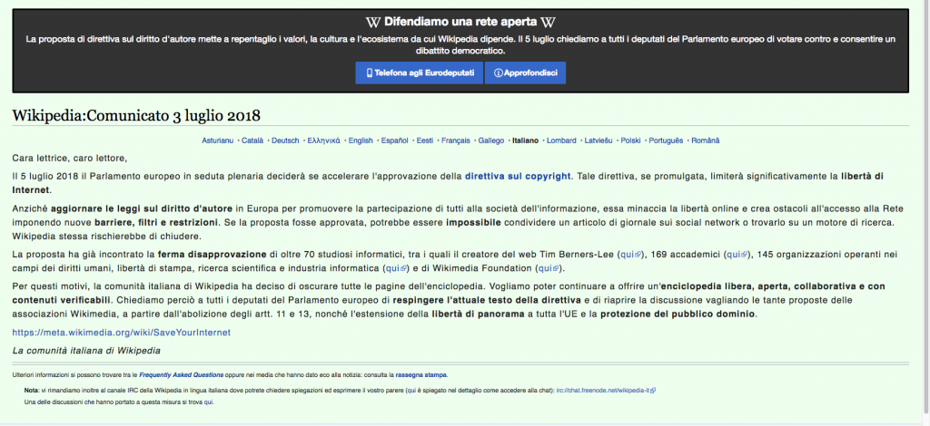 wikipedia protesta copyright