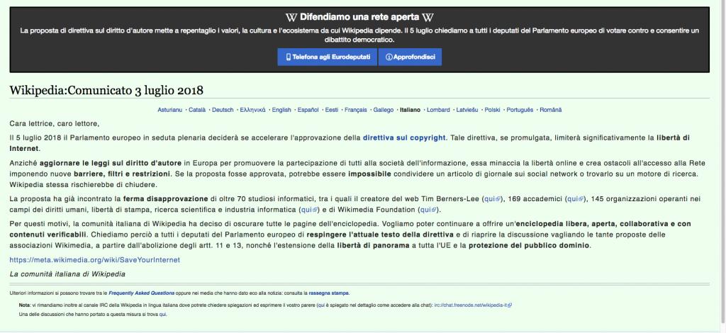 wikipedia protesta copyright