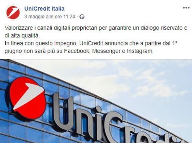 Unicredit abbandona i social di Facebook