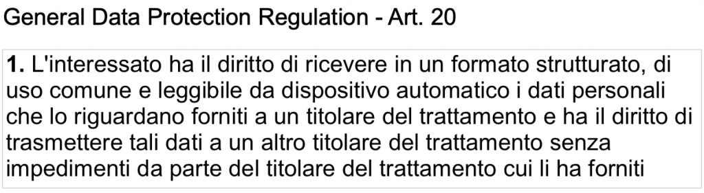Articolo 20 del GDPR che sancisce il diritto alla portabilità dei dati.